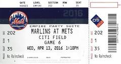 April 13, 2016, New York Mets vs Florida Marlins, Citi Field, New York - Ticket Stub (Joe Merchant) Tags: new york field florida ticket april vs 13 stub mets citi marlins 2016