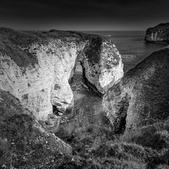 Flamborough Sea Arch (roseysnapper) Tags: sea sky blackandwhite bw seascape water monochrome landscape chalk outdoor cliffs circularpolarizer seaarch flamborough leefilters niksoftware nikond810 nikkor1424f28