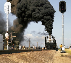Union Pacific FEF-3 class 4-8-4 Northern steam locomotive # 8444, is seen leading a rail fan excursion train on photo a run-by in Colorado, Summer 1980 - 2 (alcomike43) Tags: old people color classic up modern vintage ties photo colorado smoke tracks engine photographers trains historic steam negative photograph rails unionpacific locomotive northern spikes steamengine observers railroads onlookers ballast rightofway steamlocomotive 484 mainline oilburner passengertrains roadbed kersey railfans 8444 blocksignal tieplates anglebars conventionaljointedsectionrail railfanexcursiontrains fef3class