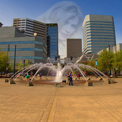 Phenomenon (swong95765) Tags: city fountain female buildings cityscape watching belief skyscrappers observed imagery