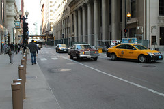 Morning Traffic (Flint Foto Factory) Tags: city morning urban white chicago motion classic chevrolet metal sedan moving illinois am spring gm downtown loop top burgundy district painted platform jackson malibu chevy april lasalle intersection rushhour friday financial 1979 icm abody generalmotors in intermediate 2016 midsize rwd 4door downsized