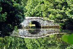 bridge with reflection (lisafree54) Tags: bridge reflection green nature water stone pond scenery arch gray free scene double inverted cco freephotos