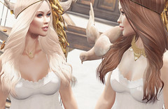 :: Golden Angels Closer (Glamrus) Tags: life family cute angel sisters pose photography golden pretty little adorable explore blueberry together secondlife bones second anc reign gacha littlebones glamrus