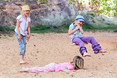 Play (dshoning) Tags: park girls tree children play hats rope swing