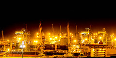 Casablanca port - Morocco (Bouhsina Photography) Tags: city light night port canon wow puerto gold town long lumire cit exposition morocco maroc casablanca marruecos gruas grues bouhsina 7dii ef247028ii bouhsinaphotography