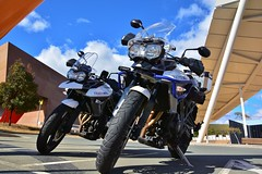 Twin Triples (~Jek~) Tags: geotagged australia motorbike motorcycle canberra aus australiancapitalterritory triumphmotorcycles nationalmuseumofaustralia triumphtiger triumphtiger800 triumphtiger800xrx geo:lat=3529267427 geo:lon=14911987513