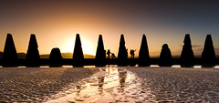 Selfie Girls and the Child with the Red Balloon (roseysnapper) Tags: sunset sky reflection beach silhouette river scotland sand edinburgh mud balloon pylon riverbed ripples lowtide redballoon causeway firthofforth selfie cramond nikond810 nikkor1424f28 antisubmarinedefences