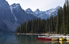 Missing Moraine (Stephen Guilbert) Tags: travel sky lake snow canada mountains rockies outdoors canoe snowcapped alpine alberta banff alpinelake moraine morainelake canadianrockies lakemoraine