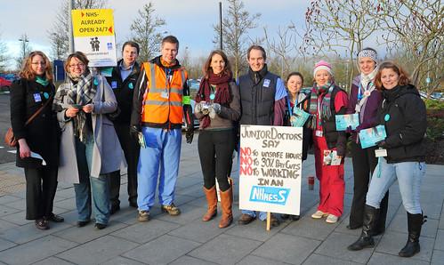 Junior Doctors Strike Picket at Norfolk and Norwich University Hospital