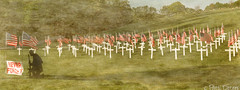 """Never Forget"" by Patti Deters (Patti Deters) Tags: shadow panorama art texture cemetery grass horizontal misty soldier remember vet pano hill praying lawn crosses flags lobby remembrance hillside kneeling neverforget interiordesign memorialday veterans pattidetersphotography pattideters"