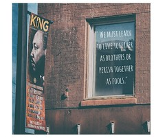 MLK Tribute (PhotographyIsTheMuse) Tags: atlanta streetphotography humanitarian brickbuilding martinlutherking urbanlandscape nonviolence blackhistorymonth famousperson atlantian urbanarchitecture freedomfighter photoquote nobellaureate civilrightsleader photographyisthemuse
