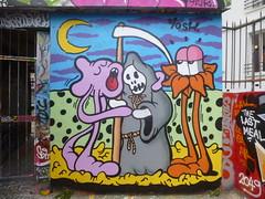 Yosh : le poulpe et la mort (janvier 2016) (Archi & Philou) Tags: streetart death mort yosh paintedwall murpeint paris20 ruedesplatrires