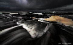 **Through the Dark** (damian.mccudden1) Tags: morning light sky nature water rain sunrise canon dark flow landscapes rocks moody cloudy fineart windy australia stormy foam qld rough showers sunshinecoast samyang
