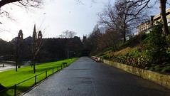 even the squirrels aren't playing in the park today (byronv2) Tags: park winter sun wet rain weather bench puddle scotland edinburgh path perspective princesstreetgardens princesstreet parkbench newtown edimbourg