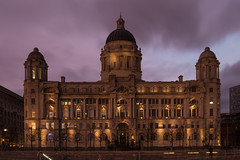 Port of Liverpool Building (Caterix) Tags: lighting city light building liverpool docks evening purple dusk nighttime hugebuilding portofliverpoolbuilding portofliverpool