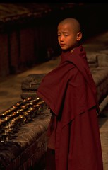 Boy Buddhist in Bodh Gaya (travelnotes) Tags: travel boy portrait people sunlight india youth religious temple photography golden site focus asia candles robe maroon buddhist faith prayer religion young monk buddhism unesco gaya meditation michel enlightenment bihar novice bodhgaya travelphotos travelnotes travelpics placeofpilgrimage mahabodhitemple michelguntern bodggaya