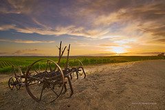 Sunset from Lyndoch (Valley Imagery) Tags: old sunset vines wine farm south australia machinery valley grapes grape barossa plough imagery lyndoch