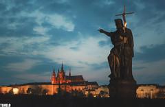 """Over there"" - Charles Bridge - Prague - Czech Republic (TLMELO) Tags: tower clock night easter republic czech prague carlos praga ponte pscoa porsche oldtownsquare astronomical karlvmost powdertower churchofourladyinfrontoftn metropolitancathedralofsaintsvituswenceslausandadalbert"