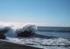 Spishy Splashy (alvey_ski) Tags: ocean blue green mamiya water rocks surf spray mamiya645 sheltercove blacksandbeach mamiyam645 kodakportra160