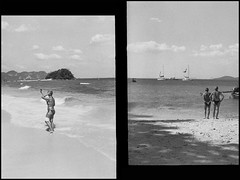 at the beach (Bo N) Tags: bw water photoshop thailand d76 halfframe 100asa 2015 fujicahalf kentmere100