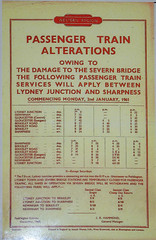 RD12551.  Amended timetable following the destruction of the Severn Railway Bridge at the Norchard Railway Museum on the Dean Forest Railway. (Ron Fisher) Tags: uk greatbritain railroad england europe pentax unitedkingdom transport eisenbahn rail railway gloucestershire gb forestofdean railwaymuseum pentaxkx chemindefer dfr deanforestrailway heritagerailway norchard