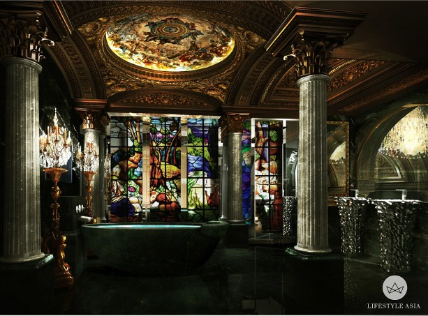 Stained-Glass-and-Marble-Bathroom-613x453