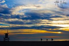 Surfin' Silhouette (KerriNikolePhotography) Tags: california sunset beach silhouette clouds nikon surf newportbeach orangecounty lifeguardtower nikond3000 kerrinikolephotography