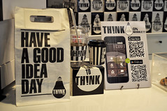 Think of a drink (Roving I) Tags: blackandwhite monochrome retail shopping thailand graphics image bangkok think lightbulbs malls branding codes thnk juicebars