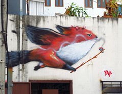 Flying Fox with Magic Mushrooms (ziso) Tags: streetart mushroom thailand graffiti fox chiangmai fuchs pilz fliegenpilz yap mauy