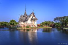 Temple (M. Ali Changezi) Tags: longexposure landscape thailand temple outdoor dusk bluehour goldenhour samutprakan ancientcity march2016