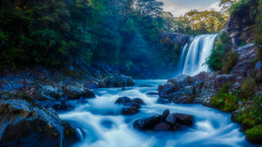 Tawhai Falls (djryan78) Tags: longexposure morning travel autumn trees newzealand tree fall water rock forest canon river landscape waterfall nationalpark moss rocks outdoor curtain falls spray tongarironationalpark northisland dslr tongariro ruapehu 1740 whakapapa 6d 1740l tawhaifalls tawhai canon6d manawatuwanganui