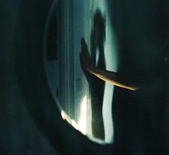 Body: light and shadow. (Leonor F) Tags: blue light shadow woman film silhouette analog self 50mm mirror hand autoportrait kodak body grain lofi analogue portra yashica