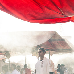 Fog (hermez) Tags: africa red portrait people guy streetphotography tent grill morocco marrakech foodvendor djemaaelfna cookshop canonef5014usm canoneos5dmk2 marrakech2016