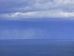 il y a bleu.. et bleu... et blanc... LOST IN BLUE... (Claudie K) Tags: mer jaune hiver bleu nuages rare voilier cerbre boues minimalisme voileblanche rservemarinecerbrebanyuls pluieauloin