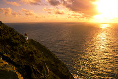 Makapu'u Lighthouse (raven nawpar) Tags: ocean sunset sea sun lighthouse water sunrise hawaii oahu shore makapuu