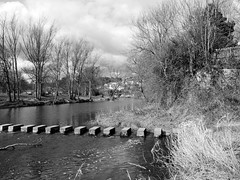 Morpeth High Stanners (stephen.lewins (1,000 000 UP !)) Tags: bw monochrome northumberland steppingstones morpeth morpethinbw