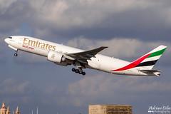 Emirates --- Boeing 777F --- A6-EFJ (Drinu C) Tags: plane aircraft aviation sony cargo emirates boeing dsc freighter mla 777f lmml hx100v adrianciliaphotography a6efj