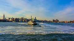 Coming to New York (Jeffrey Friedkin) Tags: city nyc blue newyork ferry cityscape empirestatebuilding newyorkphoto