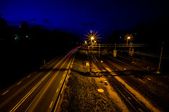 Urbanscape-1 (joacim_771) Tags: road light dark traffic traintracks tracks engineering infrastructure lighttrails urbanscape strret