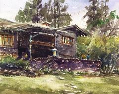 Gamble House (Sherry Schmidt) Tags: california city art architecture watercolor painting landscape landmark historic watercolour lantern pasadena artsandcrafts greeneandgreene pleinair clinkerbrick