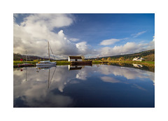 Reflections on the Caledonian canal (jonathan.bate.80) Tags: reflection clouds canon landscape boats scotland canal sailing fort augustus caledonian