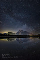 Galactic Rundle (PhoenixRoofing164) Tags: park mountain canada reflection night way rockies star nationalpark darkness lakes rocky canadian mount nighttime galaxy national astrophotography alberta banff wilderness milky vermilion rundle