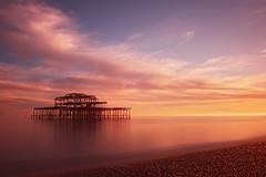 10 stop Brighton West Pier (keithjherbert) Tags: longexposure sunset reflection canon pier seaside brighton 10stop eos500d