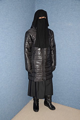 Coat and Boots (Warm Clothes Fetish) Tags: winter girl warm boots coat hijab sweat fleece niqab anorak slave burka chador