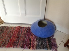 blue catcave (feltyfelt) Tags: pet felted cat bed handmade felt etsy fiber catcave