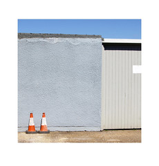 two cones (chrisinplymouth) Tags: plymouth devon england cw69x cone urban stonehouse wall conelife plastic road city urb plymgrp insquare coupla trait cameo 2016