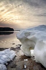 Les derniers vestiges de l'hiver (gaudreaultnormand) Tags: mer canada sunrise river quebec fjord extrieur saguenay calme glace leverdesoleil labaie riviere