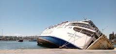 Panagia Tinou half sunk,  left side up (spicros78) Tags: sea ferry danger ship sink vessel sunk πλοίο πειραιάσ panagiatinou παναγίατήνου halfsunkship βυθίζεται