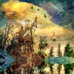 Abandon (Mandolina Moon) Tags: painterly fairytale square cottage reflect fantasy mobileart iphoneart juxtaposer mandolinamoon icolorama distressedfx