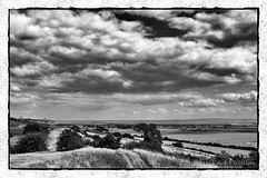 Towards Leigh and Southend-on-Sea (coldnebraskablue) Tags: park summer sky blackandwhite bw monochrome clouds creek river downs landscape fields essex hadleigh leighonsea southend benfleet thamesestuary d40